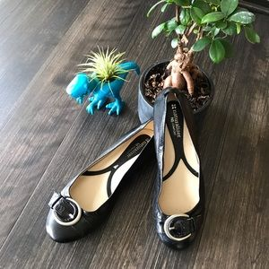 Naturalizer Black Flats with Buckle Detail